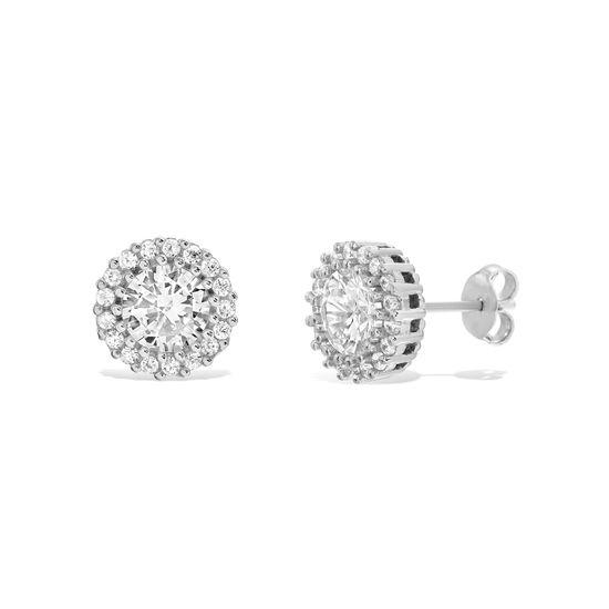 Imagen de Cubic Zirconia Round Stud Earrings in Rhodium over Sterling Silver