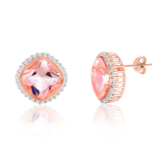 Imagen de Sterling Silver Halo Simulated Morganite Cubic Zirconia Border Square Post Earring