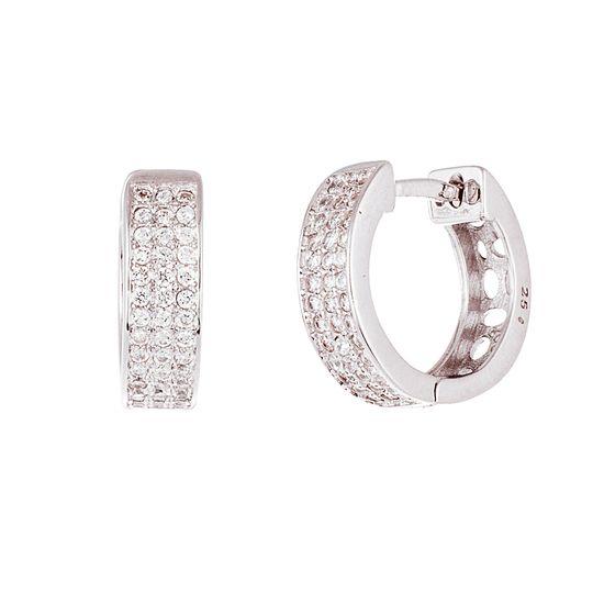 Imagen de Sterling Silver Pave Cubic Zirconia Huggie Earring