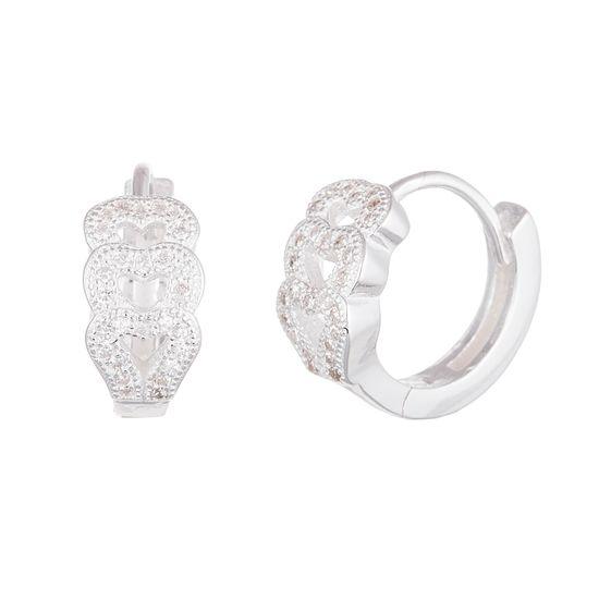 Imagen de Sterling Silver Cubic Zirconia Overlapping Hearts Huggie Earrings