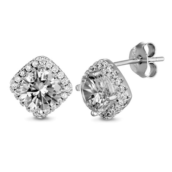 Imagen de Sterling Silver Square/Round Halo Cubic Zirconia Post Earring