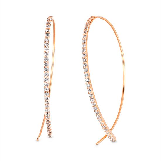 Imagen de Cubic Zirconia Curved Bar Pull Through Earring in Rose Gold over Sterling Silver