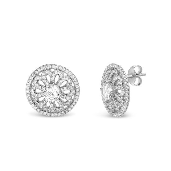 Imagen de Sterling Silver Cubic Zirconia Round Flower Post Earrings