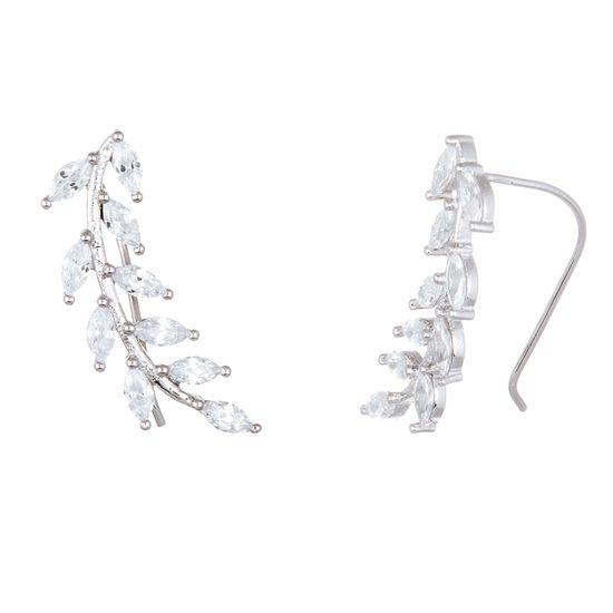 Imagen de Sterling Silver Marquise Cubic Zirconia Leafy Branch Crawler Earring