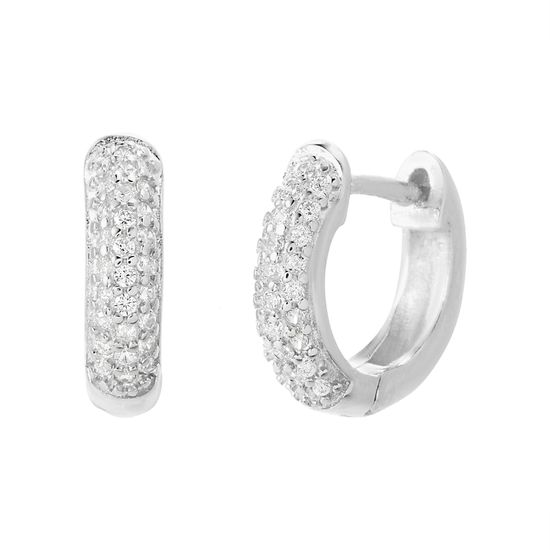 Picture of Sterling Silver Pave Cubic Horseshoe Huggie Earrings