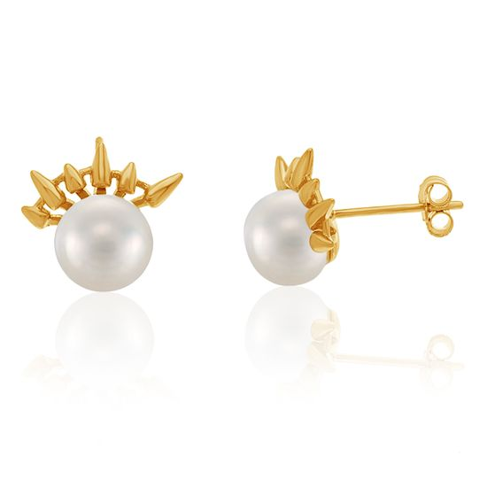 Imagen de Sterling Silver Pearl Center and Spike Post Earring