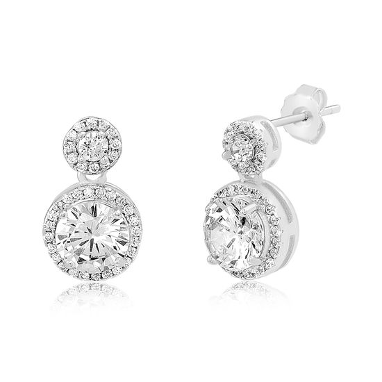 Imagen de Sterling Silver Double Halo Cubic Zirconia Dangling Post Earring