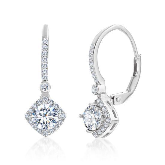 Imagen de Sterling Silver Cubic Zirconia Diamond Cut Lever Earrings