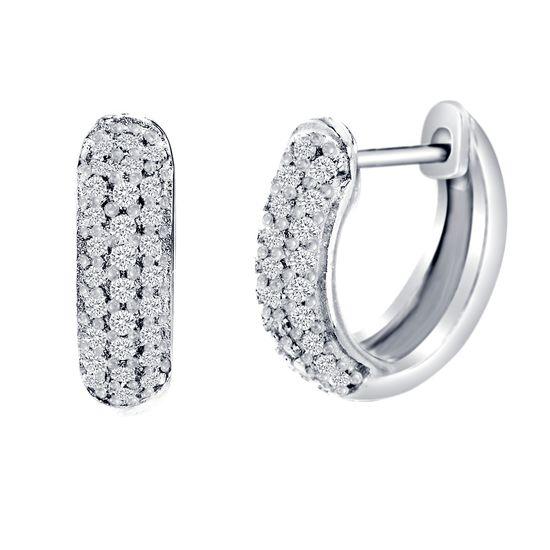 Imagen de Sterling Silver Pave Cubic Zirconia Horseshoe Earrings