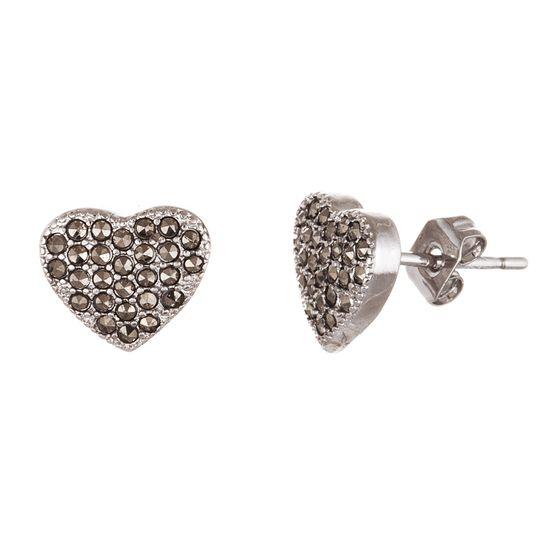 Imagen de Sterling Silver Marcasite Heart Post Earring