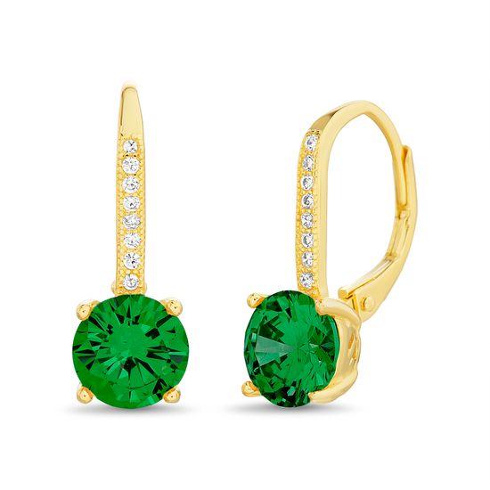 Imagen de Sterling Silver Emerald Pronged & Clear Cubic Zirconia Lever back Earring