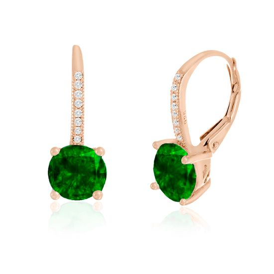 Imagen de Sterling Silver Emerald Pronged & Clear Cubic Zirconia Lever back Earring