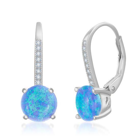 Imagen de Sterling Silver Prong Blue Opal Stone Lever Back Earring