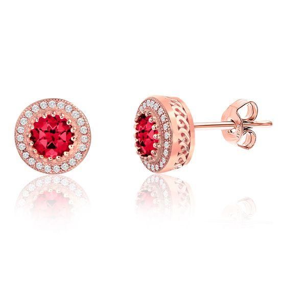 Imagen de Pink Center Round Halo Post Earring