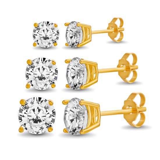 Picture of Sterling Silver Round Cubic Zirconia 3-Pair Stud Earring Set