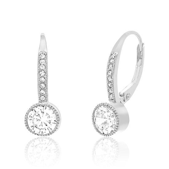 Imagen de Sterling Silver Cubic Zirconia Leverback Earrings