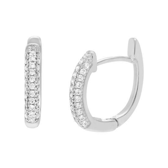 Imagen de Sterling Silver Cubic Zirconia Skewed Oval Huggie Earring