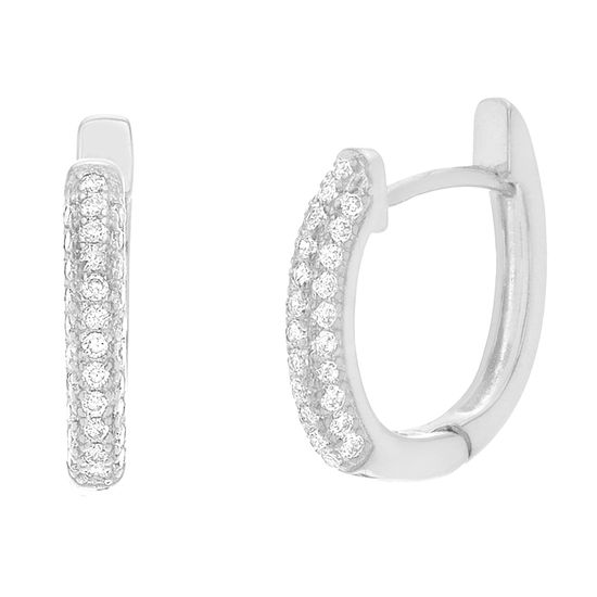 Imagen de Sterling Silver Three Row Cubic Zirconia U Shaped Huggie Earring