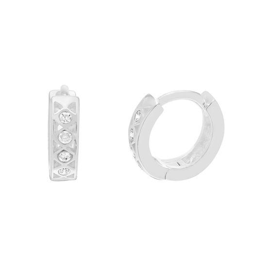 Imagen de Sterling Silver Cubic Zirconia Circle Pattern Open Huggie Earring