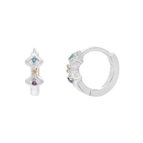 Imagen de Sterling Silver Multi Cubic Zirconia Huggie Earrings