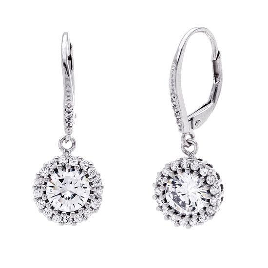 Imagen de Cubic Zirconia Halo Style Dangle Lever Back Earrings in Rhodium over Sterling Silver