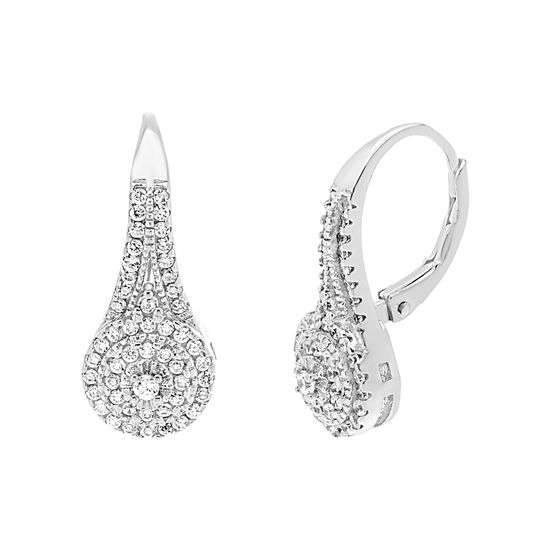 Imagen de Cubic Zirconia Teardrop Lever Back Earring in Sterling Silver