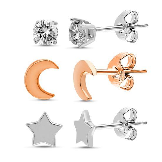 Imagen de Cubic Zirconia Moon/Star/Stud Trio Kids Earring Set in Two-Tone Sterling Silver