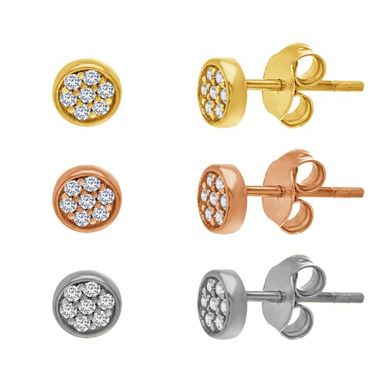 Imagen de 3-Pair Cubic Zirconia Circle Pave Stud Post Earring Set in Tri Color Plating over Sterling Silver