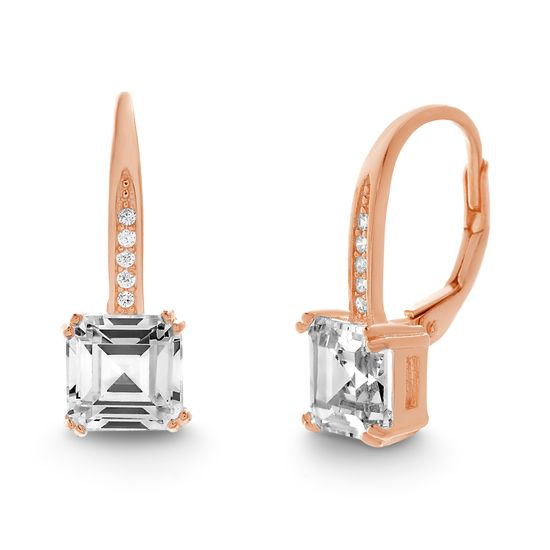 Imagen de Square Emerald Cut Cubic Zirconia Lever Back Earrings in Rose Gold over Sterling Silver