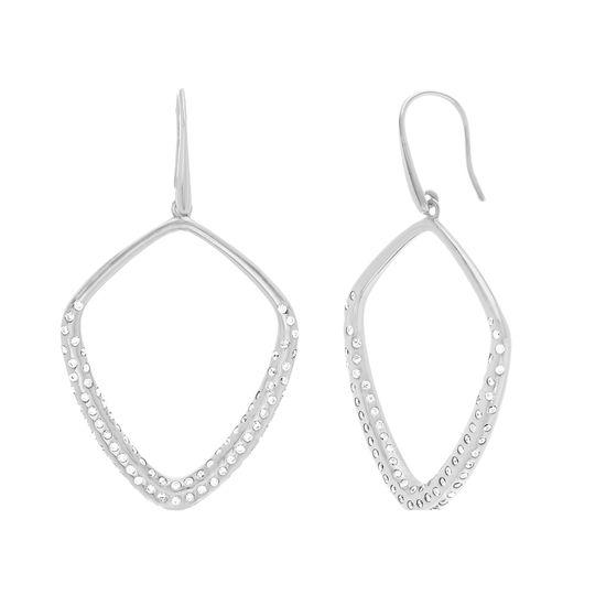 Imagen de Sterling Silver Cubic Zirconia Dangling Geo Shaped Hook Earring