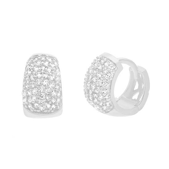 Imagen de Sterling Silver Cubic Zirconia Thin Huggie Earrings