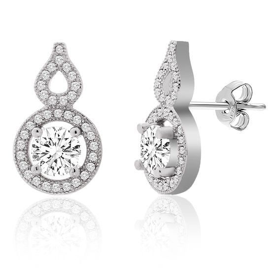 Imagen de Cubic Zirconia Teardrop and Round Post Earring in Sterling Silver