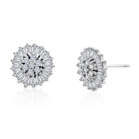 Imagen de Baguette and Round Cubic Zirconia Flower Stud Earrings in Rhodium over Sterling Silver