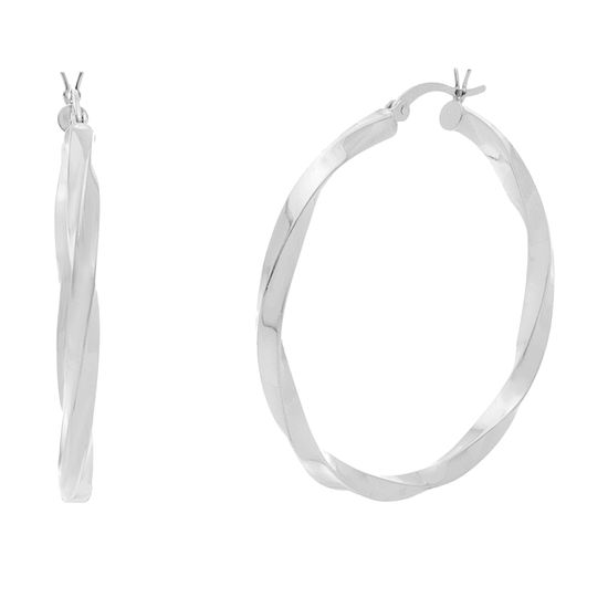 Imagen de STERLING SILVER RHODIUM TWISTED POLISHED HOOP EARRING