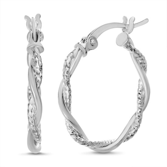 Imagen de Sterling Silver Polished and Textured Double Strand Twisted Earrings