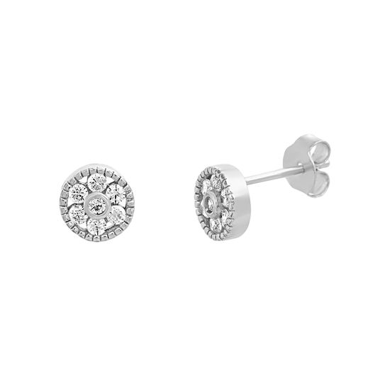 Imagen de STERLING SILVER RHODIUM CZ ROUND POST EARRING