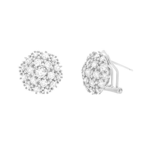 Imagen de Sterling Silver Cubic Zirconia Hexagon Shape Earrings