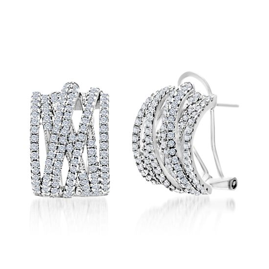 Imagen de Cubic Zirconia Crossover Bypass Half Hoop Earrings in Rhodium over Sterling Silver