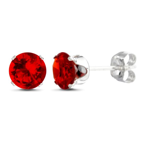 Picture of Sterling Silver Ruby Stud Earring