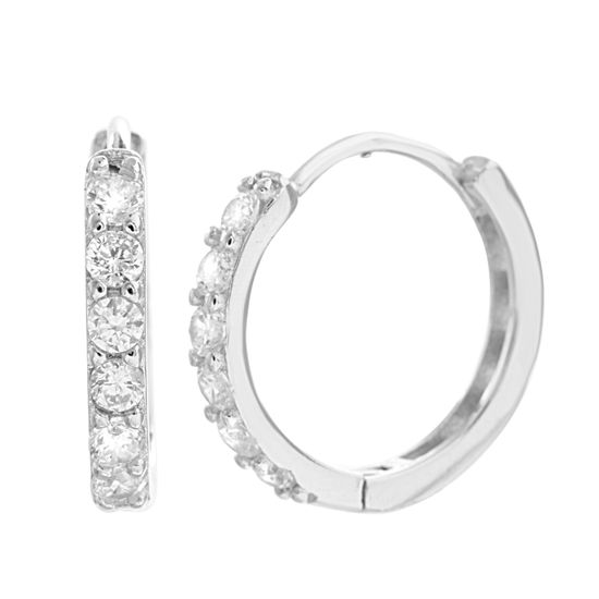 Imagen de SPPR/Clear Cubic Zirconia Hoop Earrings
