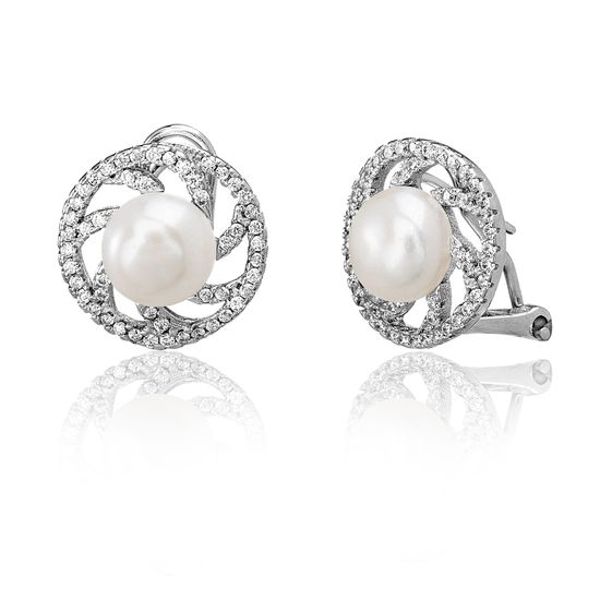 Imagen de Sterling Silver Cubic Zirconia Swirl Design Freshwater Pearl Post Clip Earring