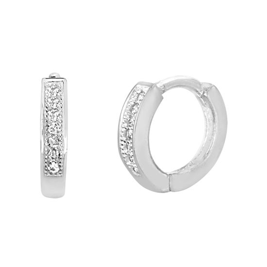 Imagen de Sterling Silver Single Row Cubic Zirconia Huggie Earring