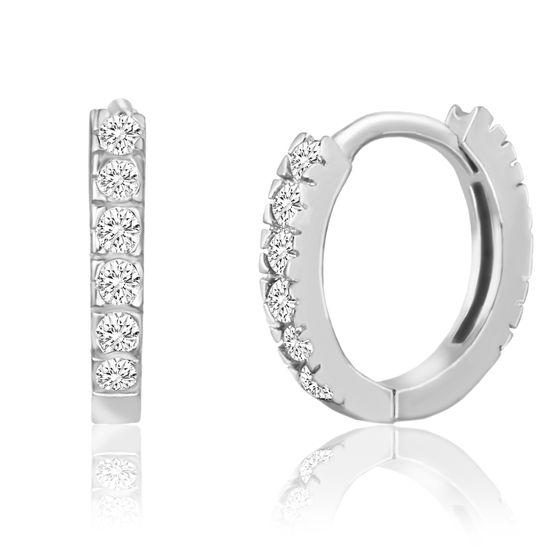 Imagen de Sterling Silver Cubic Zirconia Huggie Earring