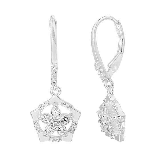 Picture of Sterling Silver Cubic Zirconia Dangling Flower Design W/ Pentagon Border Lever Back Earring