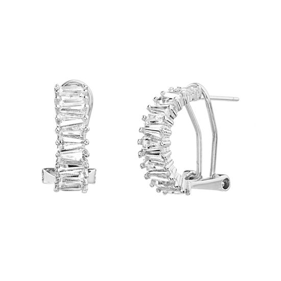 Imagen de Sterling Silver Cubic Zirconia Baguette Half Hoop Omega Earrings