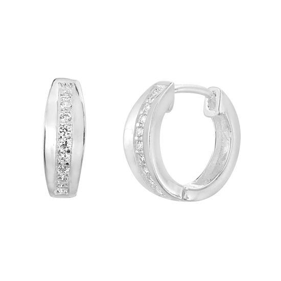 Imagen de Sterling Silver Single Row Cubic Zirconia 15mm Huggie Earring