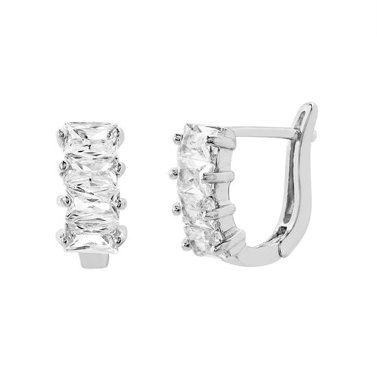 Imagen de Sterling Silver Single Row Baguette Cubic Zirconia In and Out Earring