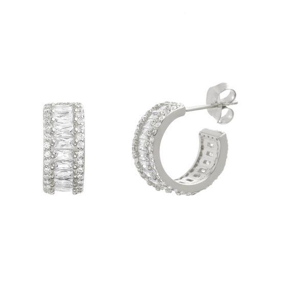 Imagen de Sterling Silver Cubic Zirconia Baguette / Round Stone Huggie Earrings