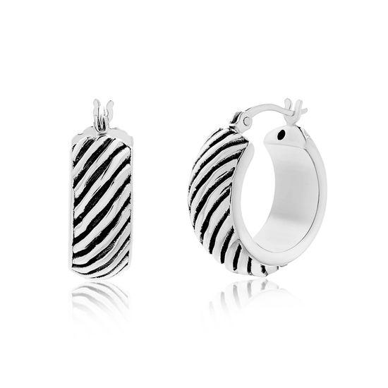 Imagen de Sterling Silver Diagonal Striped Hoop Earring