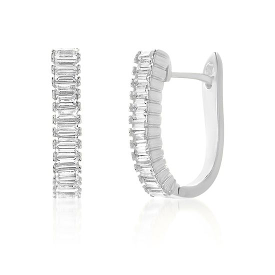 Imagen de Sterling Silver Baguette Cubic Zirconia Bar In and Out Earring